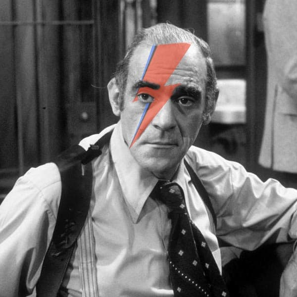 Abe Vigoda as Detective Phil Fish on the TV show Barney Miller, photoshopped with Ziggy Stardust facepaint.